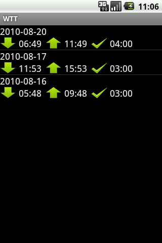 Mobile work time track (MWTT) history screen