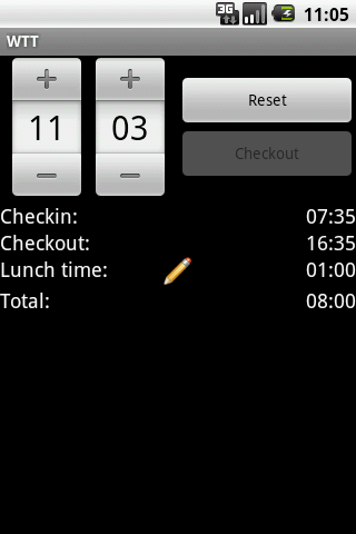 Mobile work time track (MWTT) home screen